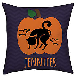 Halloween Jack-o-lantern Cat Throw Pillow in Black/Purple