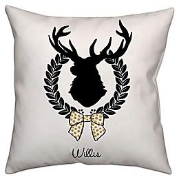 Elegant Reindeer Square Throw Pillow in Black/White