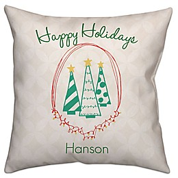 """Happy Holidays"" Square Throw Pillow in Green/White"