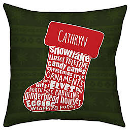 Christmas Stocking Square Throw Pillow in Red/Green