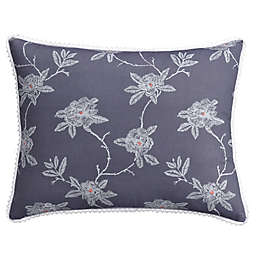 Cupcakes and Cashmere  Sketch Floral Pillow Sham in Blue