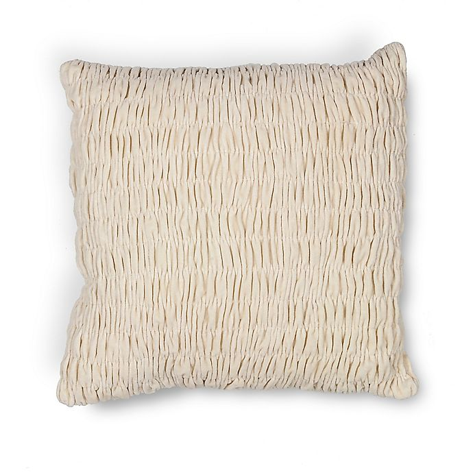 Alternate image 1 for Kas Velvet 18-Inch Square Throw Pillow in Ivory