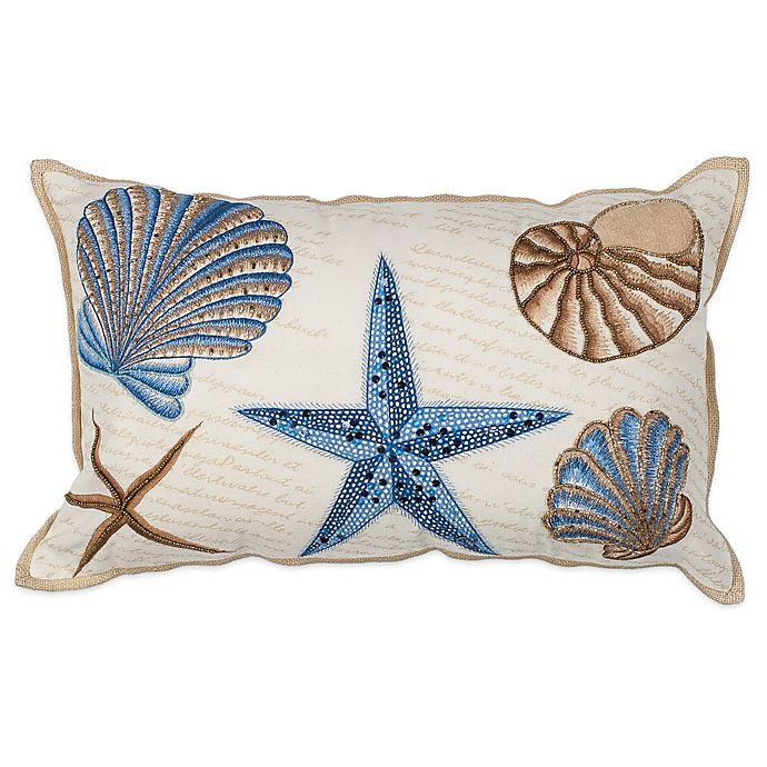 Alternate image 1 for KAS Seashell Oblong Throw Pillow in Ivory
