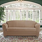 FurnitureSkins™ Kensington 2-Piece Stretch Sofa Cover with Cushion Cover in Biscuit