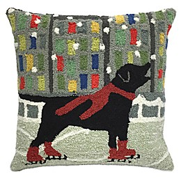 Trans-Ocean Front Porch Holiday Ice Dog Throw Pillow