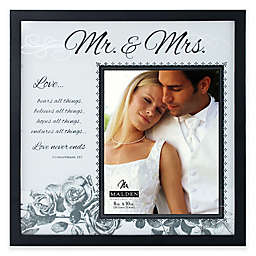 """Malden® 8-Inch x 10-Inch """"Mr. & Mrs."""" with Corinthians Verse Frosted Glass Picture Frame"""
