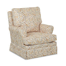 Klaussner® Guthrie Swivel Glider and Foss Gliding Ottoman in Joule Daisy