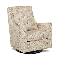 Klaussner® Landover Swivel Glider and Foss Mini Ottoman in Joule Daisy