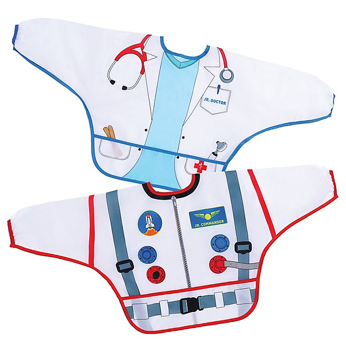 Alternate image 1 for Dreambaby® 2-Pack Astronaut and Doctor Food and Fun Character Bibs/Smocks with Sleeves