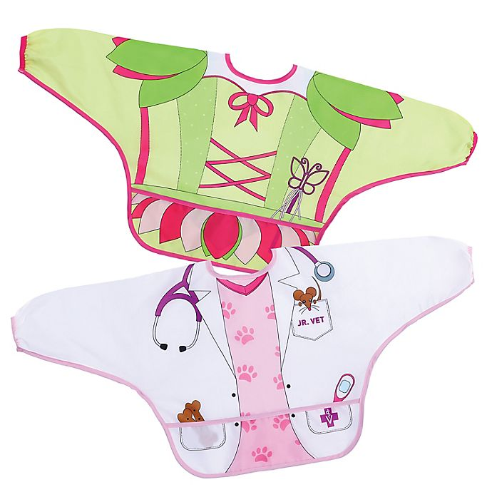 Alternate image 1 for Dreambaby® 2-Pack Fairy and Vet Food and Fun Character Bibs/Smocks with Sleeves