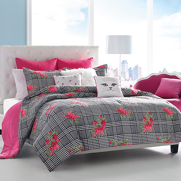 Betsey Johnson Polished Punk Comforter Set In Black And Pink