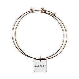 Rose Gold Plated Sterling Silver Square Name Double Bangle