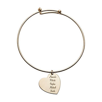 Gold-Plated Stainless Steel and Sterling Silver Family Heart Expandable Bangle