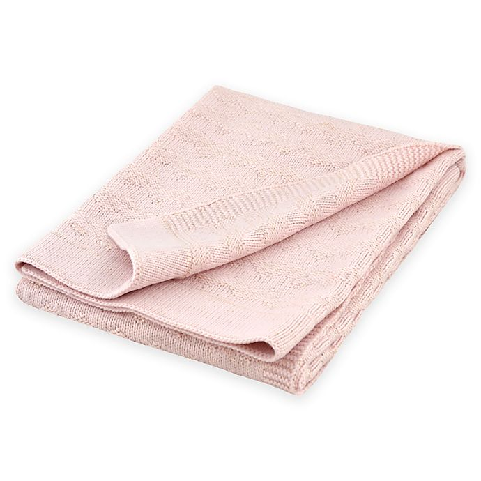Alternate image 1 for Just Born® Sparkle Chevron Sweater Knit Blanket in Pink