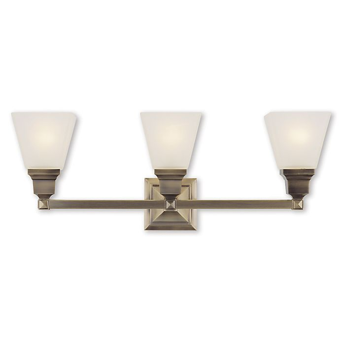 Alternate image 1 for Livex Lighting® Mission Collection 3-Light Wall Bath Light in Antiqued Brass with Glass Shade