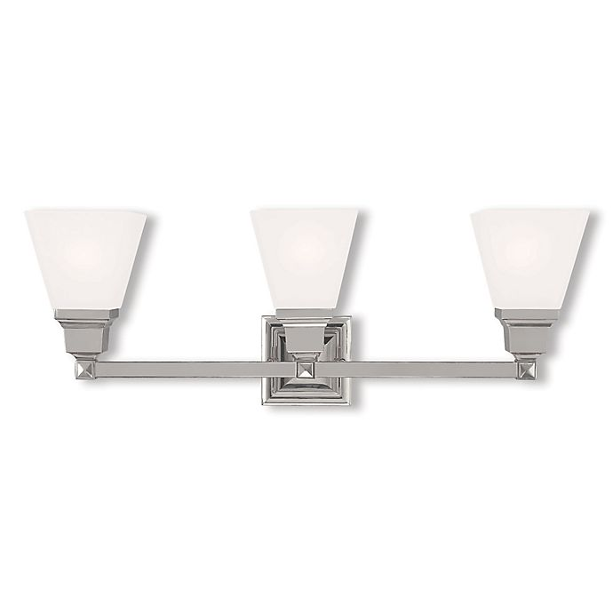 Alternate image 1 for Livex Lighting® Mission Collection 3-Light Wall Bath Light in Polished Nickel with Glass Shade