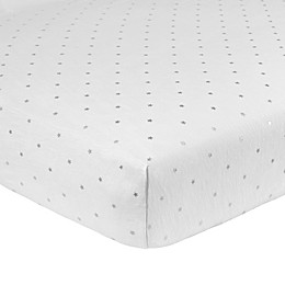 Just Born® Sparkle Star Fitted Crib Sheet in Grey