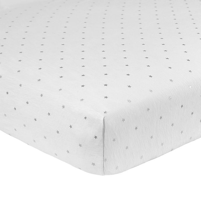 Alternate image 1 for Just Born® Sparkle Star Fitted Crib Sheet in Grey