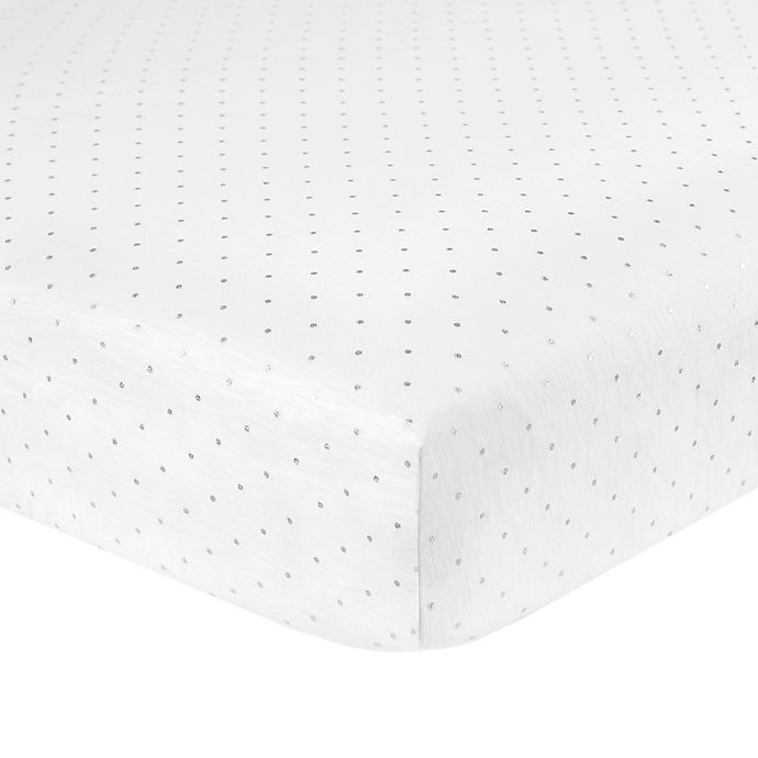 Alternate image 1 for Just Born® Sparkle Dot Fitted Crib Sheet in White