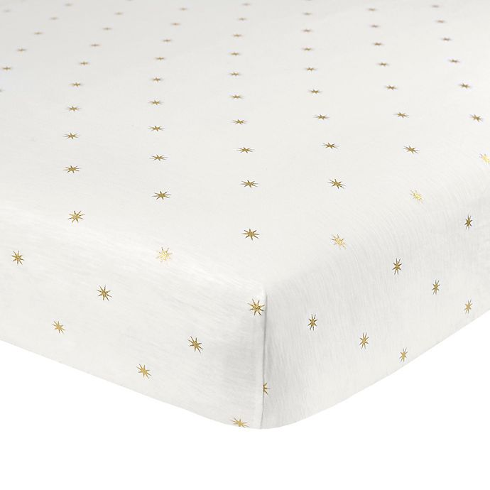 Alternate image 1 for Just Born® Sparkle Sunburst Fitted Crib Sheet in Ivory