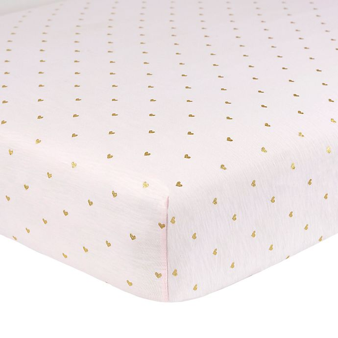 Alternate image 1 for Just Born® Sparkle Heart Fitted Crib Sheet in Pink