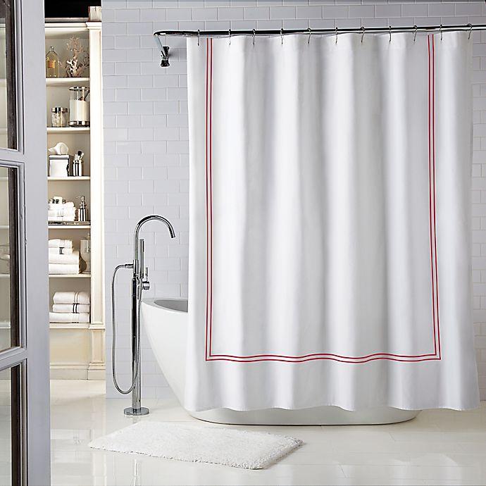 Alternate image 1 for Wamsutta® Baratta Stitch 72-Inch x 84-Inch Shower Curtain in Seaglass/Red