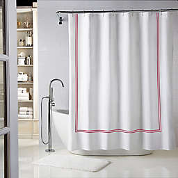 Wamsutta® Baratta Stitch 72-Inch x 96-Inch Shower Curtain in White/Red