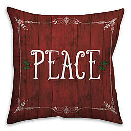 Rustic Holiday Peace Square Throw Pillow
