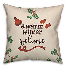 Warm Winter Welcome Square Throw Pillow