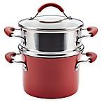 Rachael Ray™ Cucina Hard Porcelain Enamel Nonstick 3 qt. Multi-Pot Steamer Set in Cranberry Red