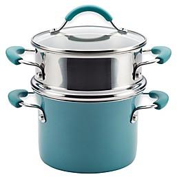 Rachael Ray™ Cucina Hard Porcelain Enamel Nonstick 3 qt. Multi-Pot Steamer Set in Agave Blue