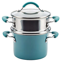 Rachael Ray™ Cucina Hard Porcelain Enamel Nonstick 3 qt. Multi-Pot Steamer Set in Agave Blue