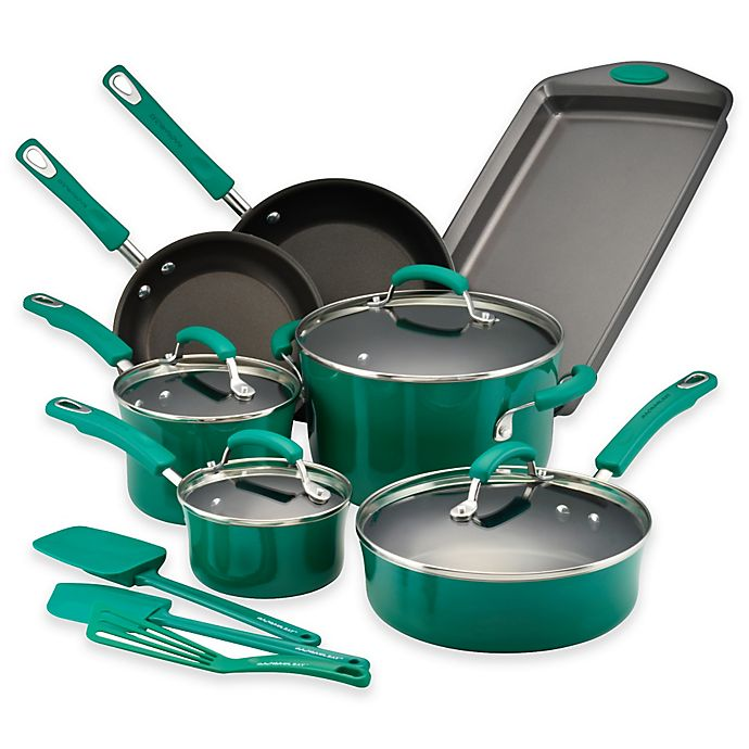 Alternate image 1 for Rachael Ray™ Porcelain Nonstick 14-Piece Cookware Set in Fennel