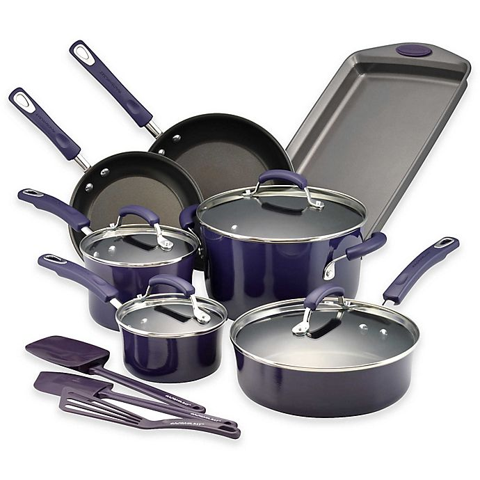 Alternate image 1 for Rachael Ray™ Porcelain Nonstick 14-Piece Cookware Set in Gradient Purple