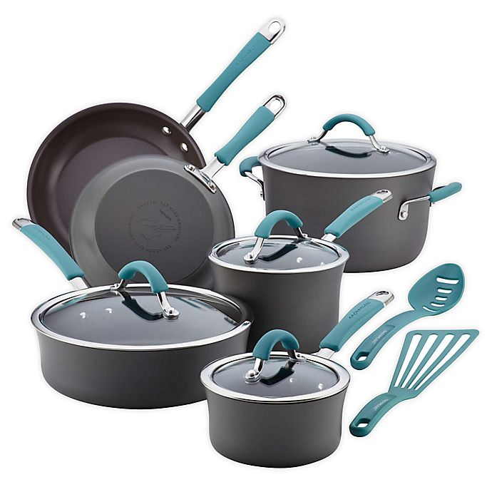 Alternate image 1 for Rachael Ray™ Cucina Hard-Anodized 12-Piece Cookware Set in Agave Blue