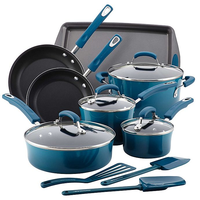 Alternate image 1 for Rachael Ray™ Porcelain Nonstick 14-Piece Cookware Set in Marine Blue