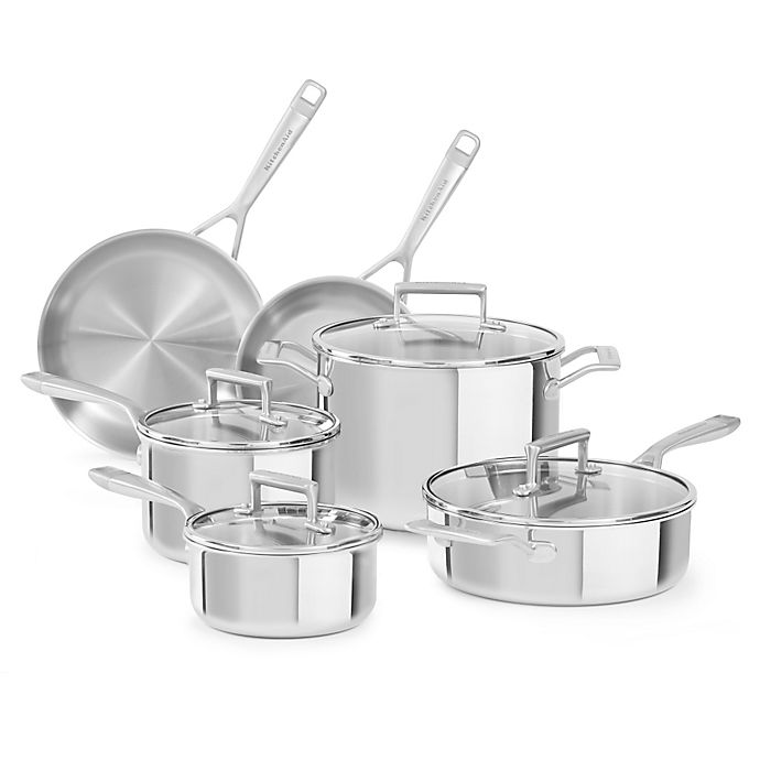 Alternate image 1 for Kitchenaid® Tri-Ply Stainless Steel 10-Piece Cookware Set