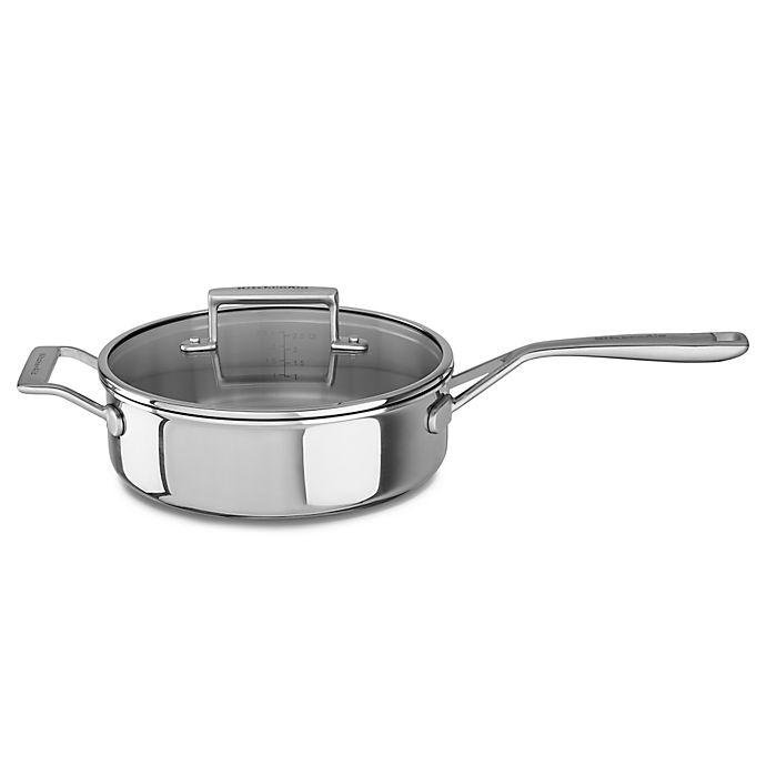 Alternate image 1 for Kitchenaid® 3.5 qt. Tri-Ply Stainless Steel Sauté Pan