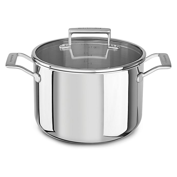 Alternate image 1 for Kitchenaid® 8 qt. Tri-Ply Stainless Steel Stock Pot