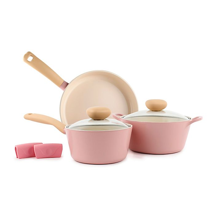 Alternate image 1 for Neoflam Retro Nonstick Ceramic 5-Piece Cookware Set in Pink