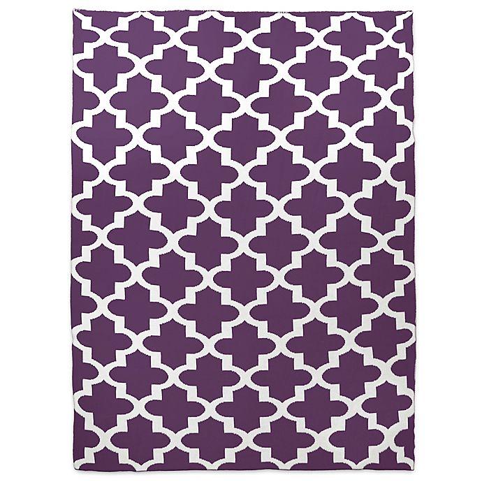 Alternate image 1 for Sleeping Partners Keyhole Cross Knit Throw Blanket in Eggplant
