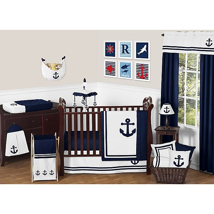 Alternate image 1 for Sweet Jojo Designs Anchors Away Crib Bedding Collection