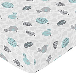 Sweet Jojo Designs Earth and Sky Fitted Crib Sheet in Blue