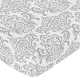 Sweet Jojo Designs Skylar Damask Fitted Crib Sheet in Grey
