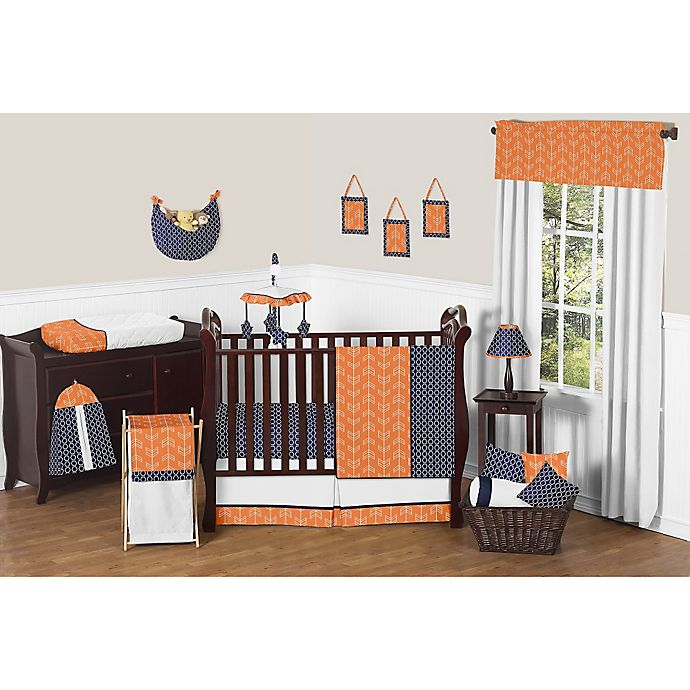 Alternate image 1 for Sweet Jojo Designs Arrow 11-Piece Crib Bedding Set in Orange/Navy
