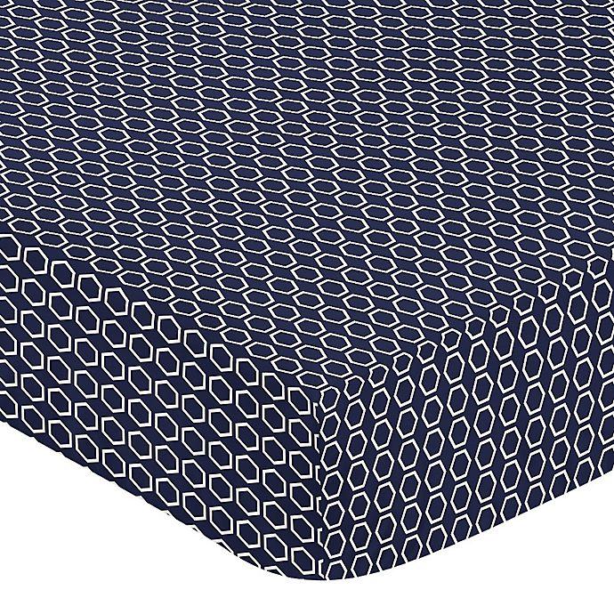 Alternate image 1 for Sweet Jojo Designs Arrow Hexagon Fitted Crib Sheet in Navy