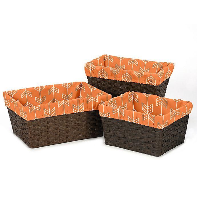 Alternate image 1 for Sweet Jojo Designs Arrow Basket Liners in Orange/White (Set of 3)