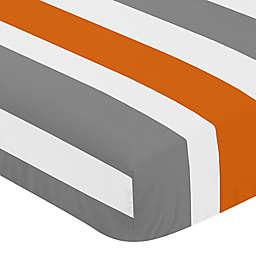 Sweet Jojo Designs Grey and Orange Stripe Fitted Crib Sheet