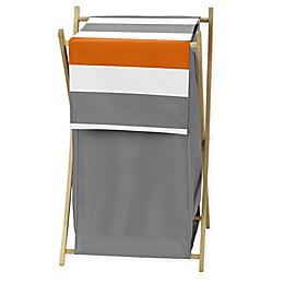 Sweet Jojo Designs Grey and Orange Stripe Hamper