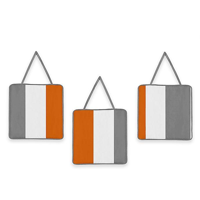 Alternate image 1 for Sweet Jojo Designs Grey and Orange Stripe 3-Piece Wall Art